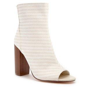 Forever21 white Lattice open toe booties